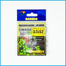 Missangas Barril Verde Lumin. Barros 3.7x5.2 30pcs