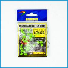 Missangas Barril Verde Lumin. Barros 4.7x6.2 30pcs