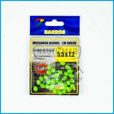 Missangas Barril Verde Lumin. Barros 5.5x7.2 30pcs