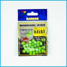 Missangas Barril Verde Lumin. Barros 4.4x8.3 30pcs
